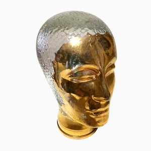 Gilded and Glass Head Sculpture by Piero Fornasetti, 1970s