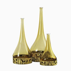Bouteilles en Verre de Murano par Angelo Brotto, Italie, 1970s, Set de 3