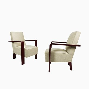 Art Deco Cubist Armchairs, 1930s, Set of 2