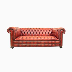 Canapé Chesterfield en Cuir Rouge, 1980s