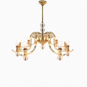 Italian 9-Arm Brass & Glass Chandelier, 1960s