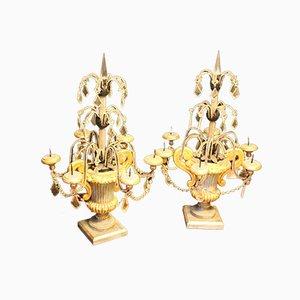 Candeliere con pendenti in cristallo, Italia, anni '30, set di 2