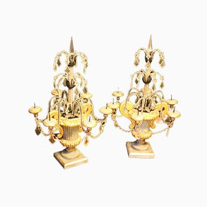 Italian Girandoles with Crystal Beads, 1930s, Set of 2