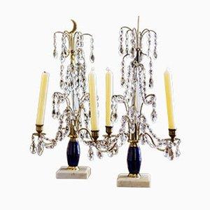 Candeliere in vetro, ottone e marmo, Russia, set di 2