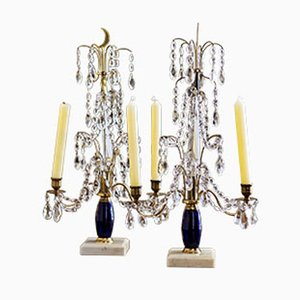 Russischer Kerzenhalter aus Glas, Messing & Marmor, 2er Set