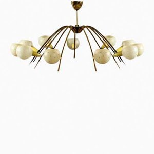 Italian Twelve-Armed Ceiling Light, 1950s