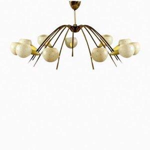 Lámpara de techo italiana con doce brazos, años 50