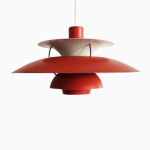 Lampe à Suspension, Modèle PH5, Rouge par Poul Henningsen pour Louis Poulsen, 1960s