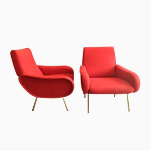Red Baby Armchairs by Marco Zanuso for Arflex, 1951, Set of 2