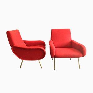 Rote Baby Sessel von Marco Zanuso für Arflex, 1951, 2er Set