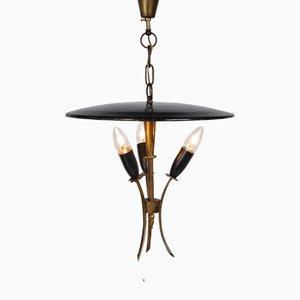 Lámpara colgante francesa de latón y metal negro, años 50