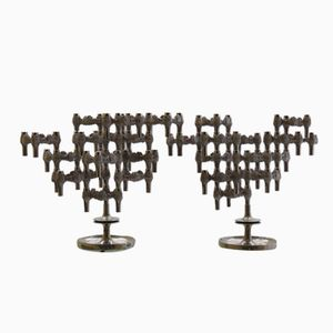 German Brutalist Variomaster Candelabras by Quist, 1960s, Set of 2