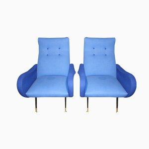 Sillas italianas Mid-Century azules, años 50. Juego de 2
