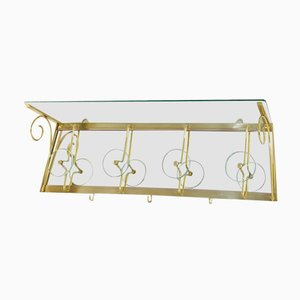 Italian Glass & Brass Coat Rack, 1950s