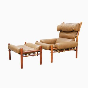 Inca Lounge Chair & Ottoman by Arne Norell