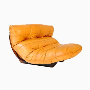 French Leather Fauteuil from Ligne Roset, 1970s