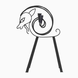 Candelabro alto con forma de cabra de Gunnar Ander para Ystad Metall, años 50