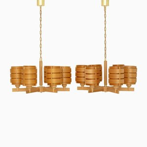 T499 Basilius Pine Chandeliers by Hans Agne Jakobsson for Ellysett, 1960s, Set of 2