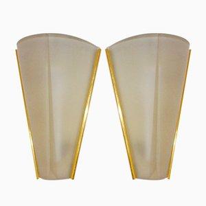 Wandleuchten aus Geätztem Glas von Hustadt Leuchten, 1960er, 2er Set