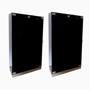 Italian Black Smoked Glass Cabinets from Gianni Moscatelli for Formanova, 1979, Set of 2