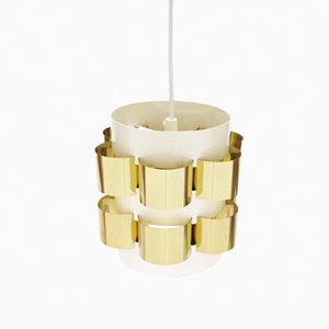 Lampe à Suspension en Laiton par Werner Schou pour Coronell, Danemark, 1960s