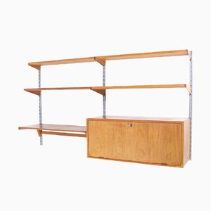 Danish Teak and Metal Wall Unit by Kai Kristiansen for Feldballes Mobelfabrik, 1960s