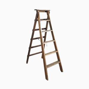 Escalera plegable industrial de madera, años 30