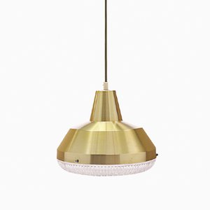 Danish Brass and Crystal Pendant Lamp from Copenhagen Hi-Lights, 1960s