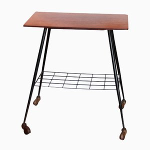 French Teak Bar Trolley with Magazine Rack, 1950s