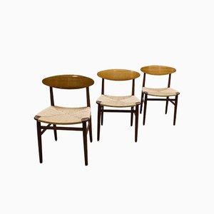 Dänische Esszimmerstühle von Børge Mogensen für Soborg Mobler, 3er Set
