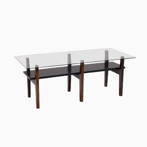 Table Basse Mid-Century en Verre et Vinyle