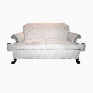 Antikes Englisches Leinen Sofa, 1910