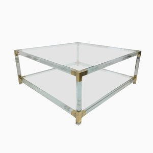 Table Basse en Laiton et Lucite, France, 1970s