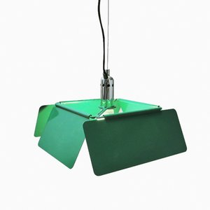 Italian Green Diaframma Hanging Lamp by Fabio Lenci for iGuzzini, 1970s