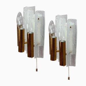 Österreichische Milchglas Wandlampen von J. T. Kalmar, 1950, 2er Set