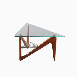 Mesa de centro triangular de palisandro de Louis Sognot, años 50