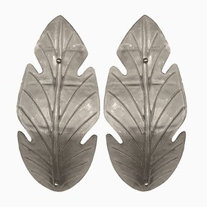 Italian Murano Glass Leaf-Shaped Wall Lights, 1960s, Set of 2