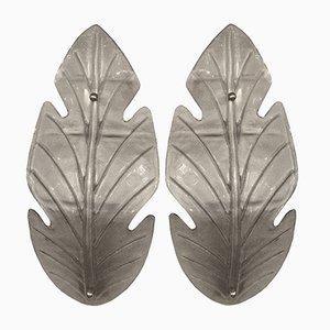 Italian Murano Glass Leaf-Shaped Wall Lights, 1960s, Set of 2