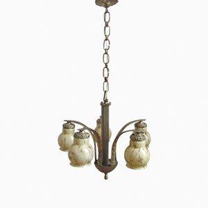 Lampada Art Déco con cinque paralumi in vetro marmorizzato, Francia, anni '30