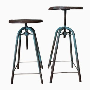French Vintage Industrial Adjustable Stools, 1950s, Set of 2