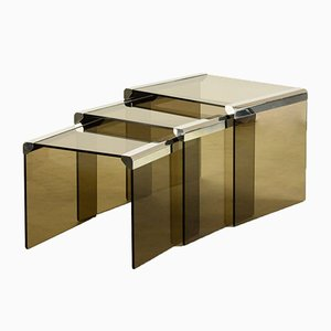 Italian Gigognes Glass and Chrome Nesting Side Tables by Pierangelo Gallotti for Gallotti and Radice, 1980s