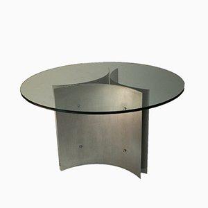 Esstisch mit Stahlgestell und Glasplatte, 1970er