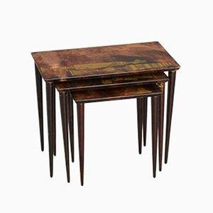 Tavolini a incastro di pelle di capra di Aldo Tura