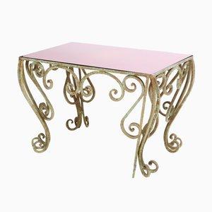 Table Basse en Fer Forgé avec Verre Miroir Violet