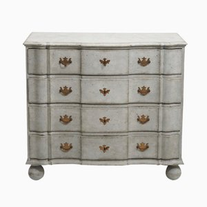 Antique Scandinavian Baroque Chest with Faux Painted Marble Top