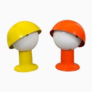 Lámparas de mesa de noche naranjas y amarillas de Sven Aage Holm Sørensen. Juego de 2