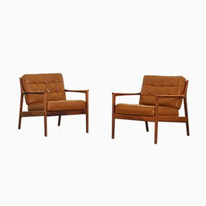 Leather & Teak Easy Chairs by Folke Ohlsson for Dux, 1960s, Set of 2
