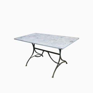 Tavolo da pranzo industriale in metallo e legno, anni '40