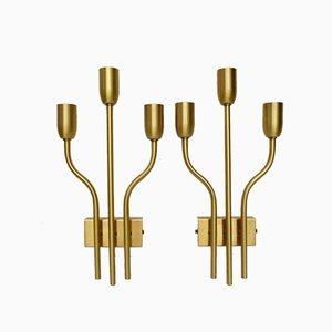 Italienische Messing Wandlampen, 1960er, 2er Set