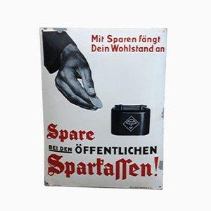 Deutsches Vintage Sparkassen Werbeschild, 1930er